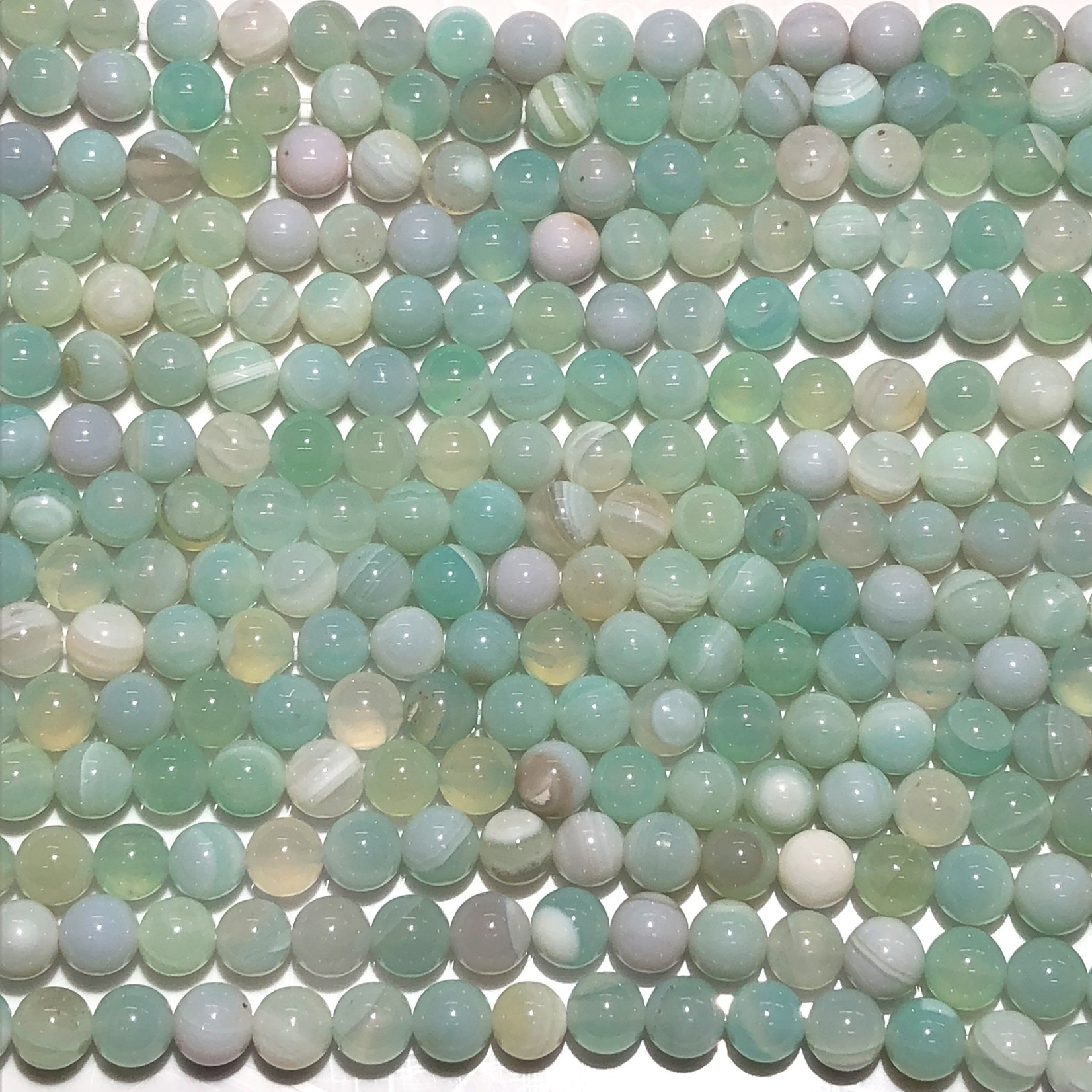 Banded AGATE Dyed Sea Foam 8mm Round