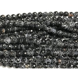 AGATE Black Snakeskin 8mm Faceted