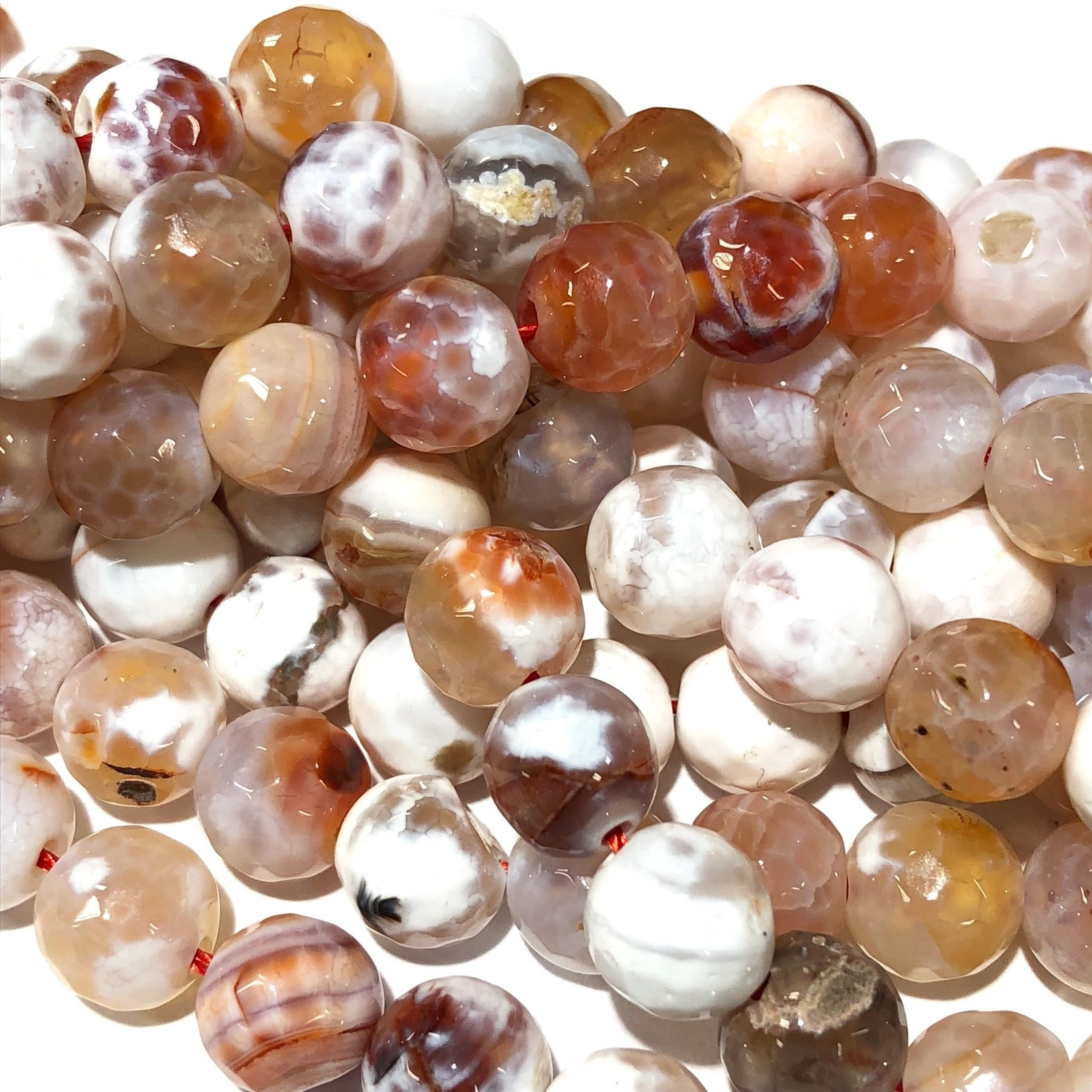Fire AGATE White/Orange/Red 8mm Faceted