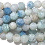 Cracked AGATE Frosted Light Blue 8mm Round