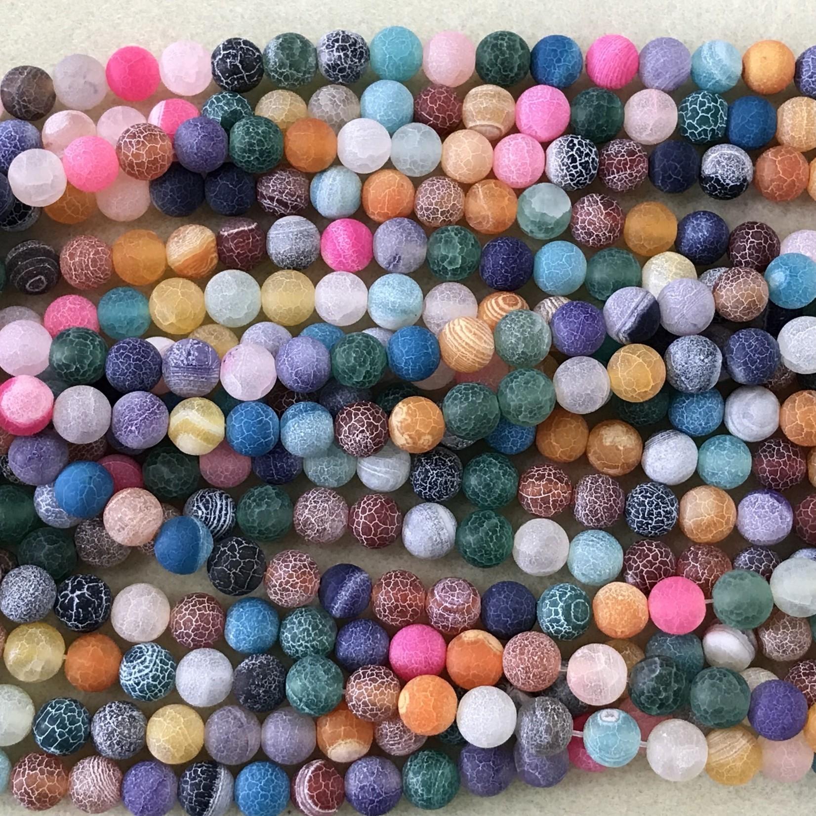 AGATE Matte Multi Coloured 8mm Round