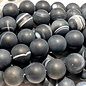Banded AGATE Frosted Dyed Charcoal 8mm Round