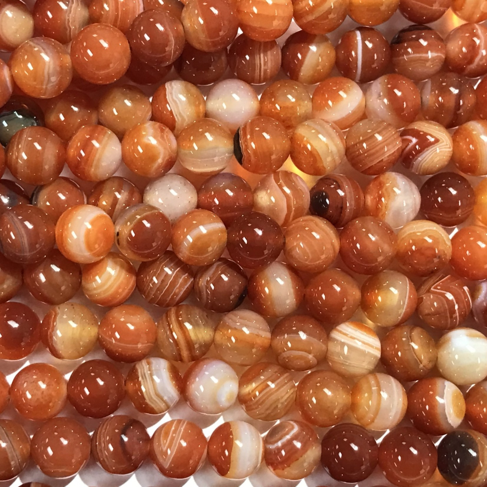 Banded AGATE Red (Carnelian) 8mm Round