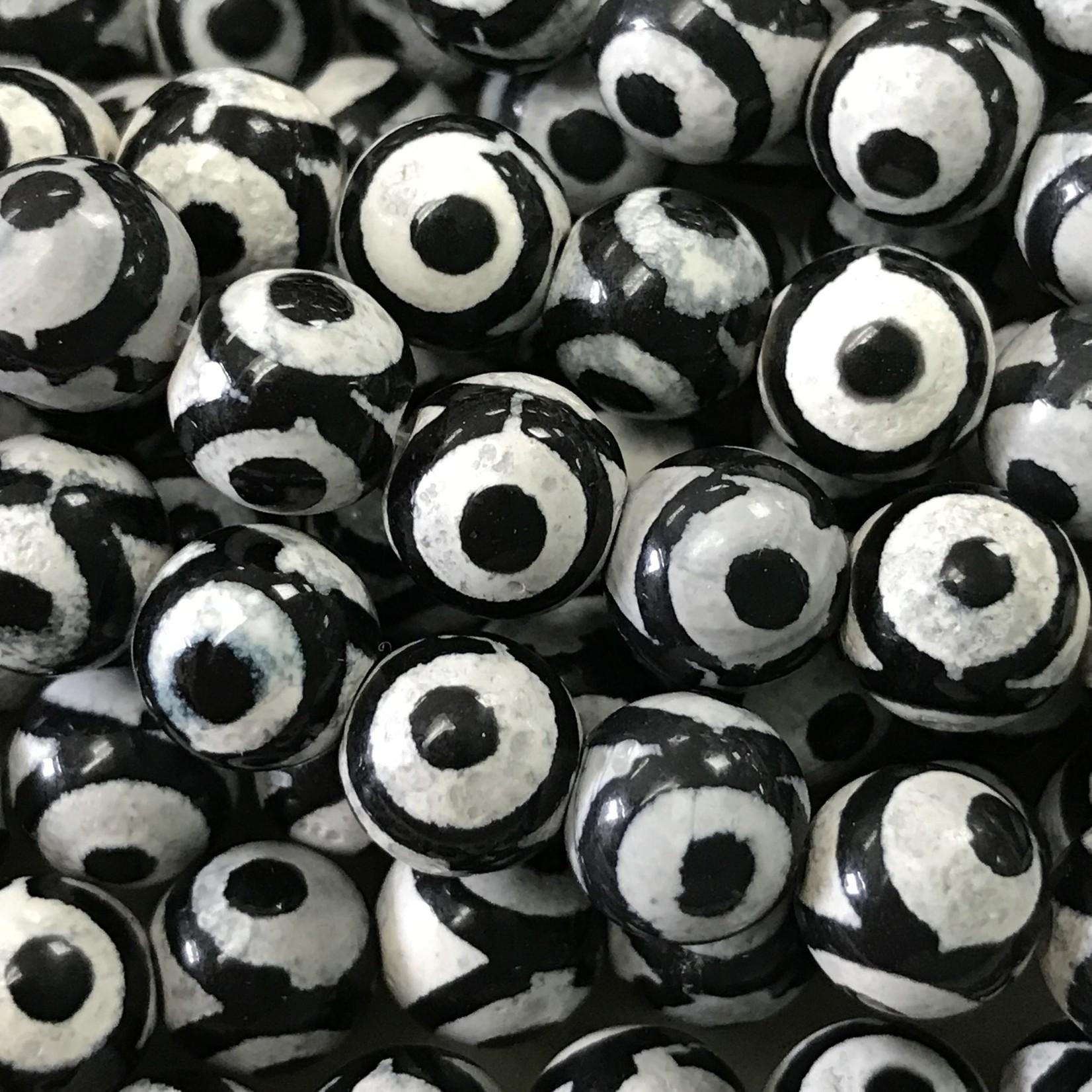 dZi Agate Black & White 8mm Round