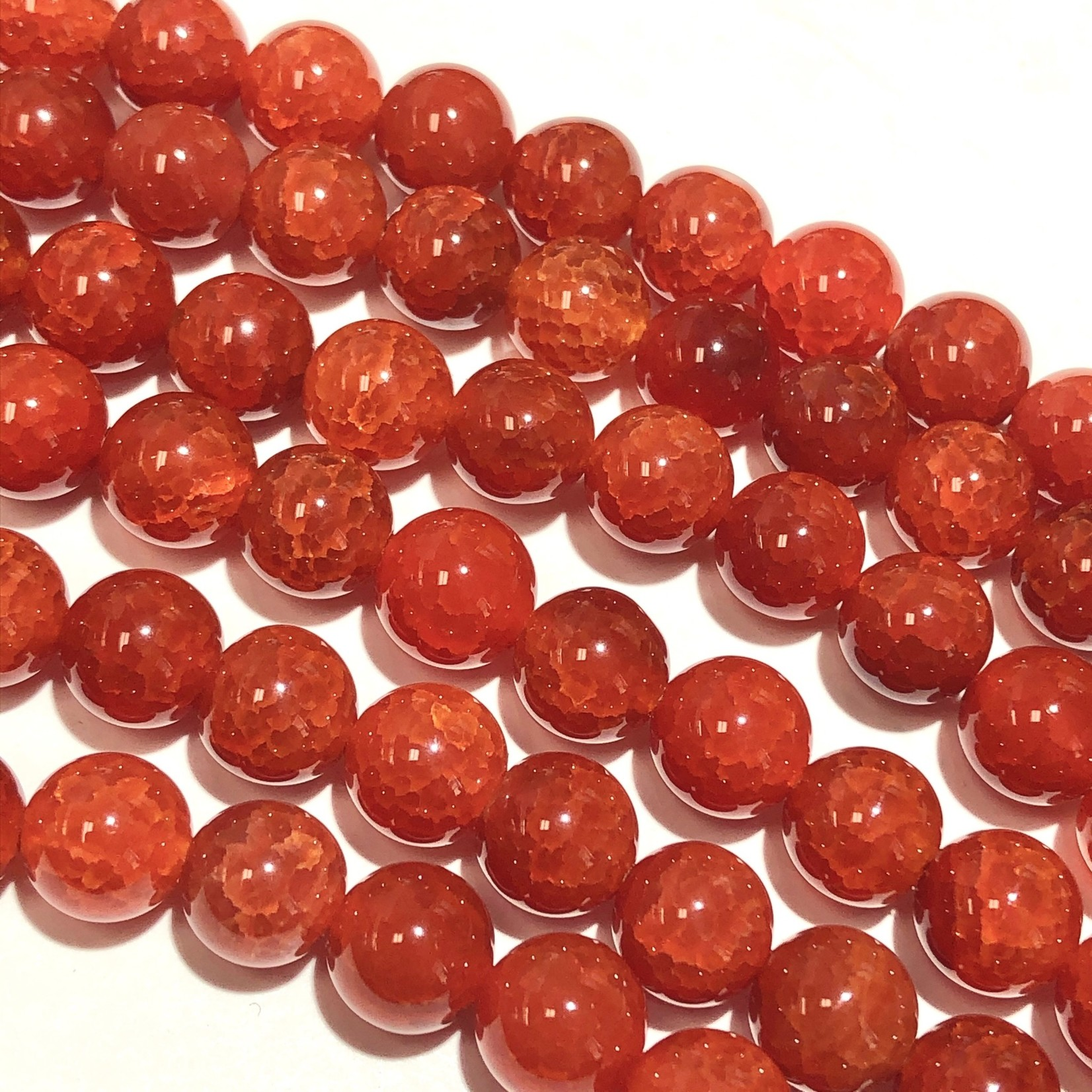 AGATE Cracked Red 8mm Natural Round