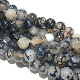 AGATE Dragons Vein Natural Grey 8mm Round