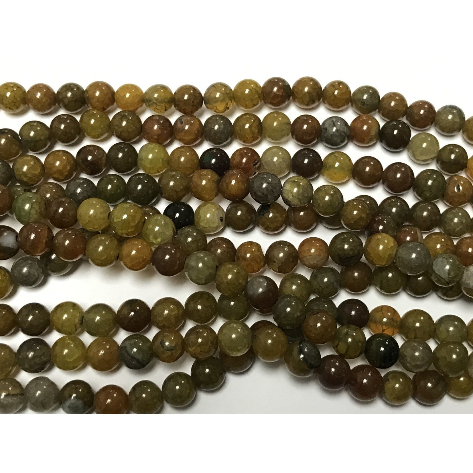 Dyed Fire AGATE Green-Brown 8mm Round