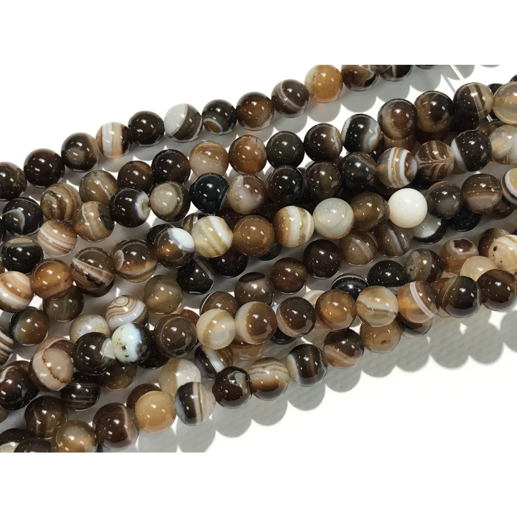 Banded Agate - Brown - 8mm Round