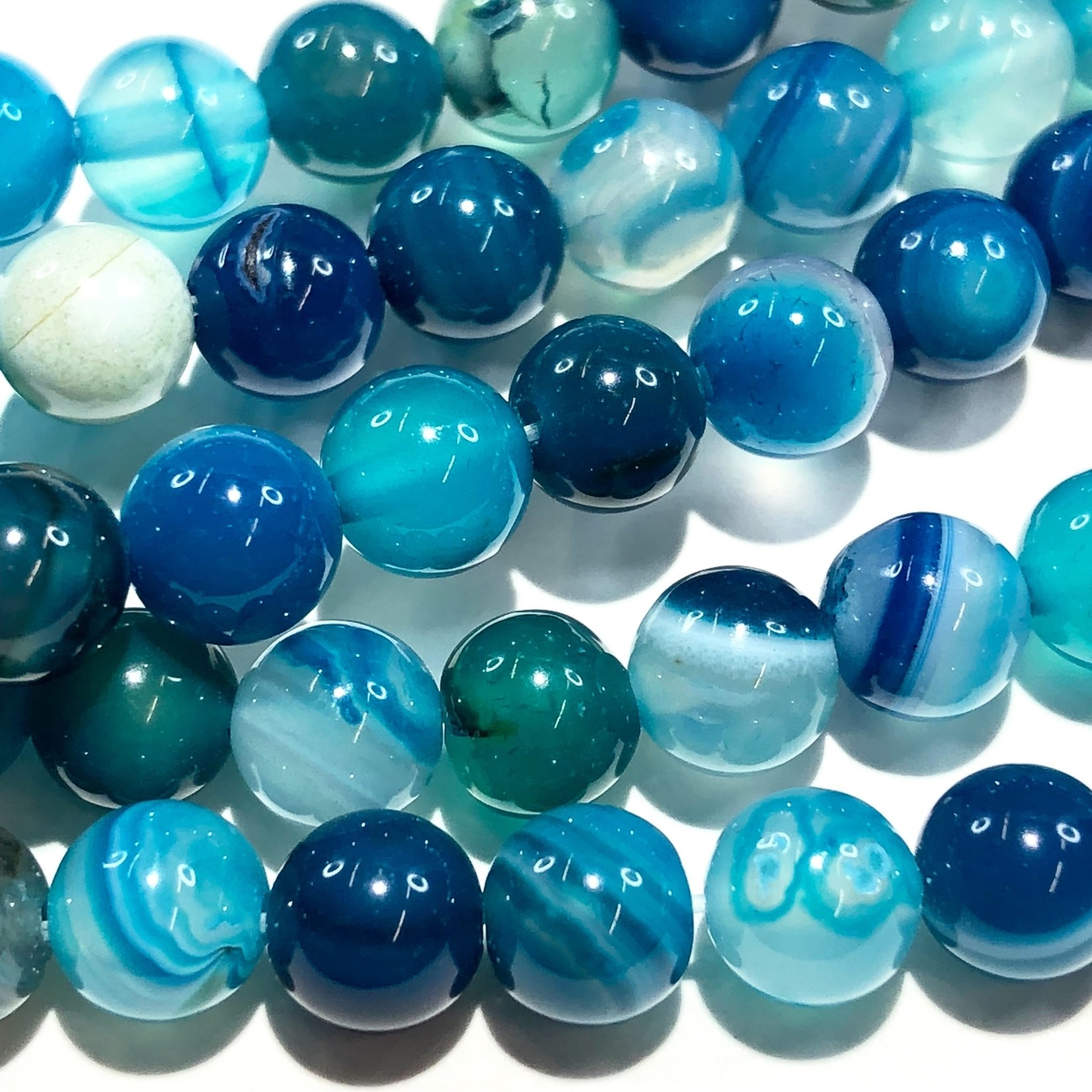 Banded Agate Dyed Royal Blue 6mm Round