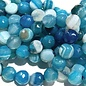 AGATE Natural Banded  Dyed Lt Blue 6mm Faceted