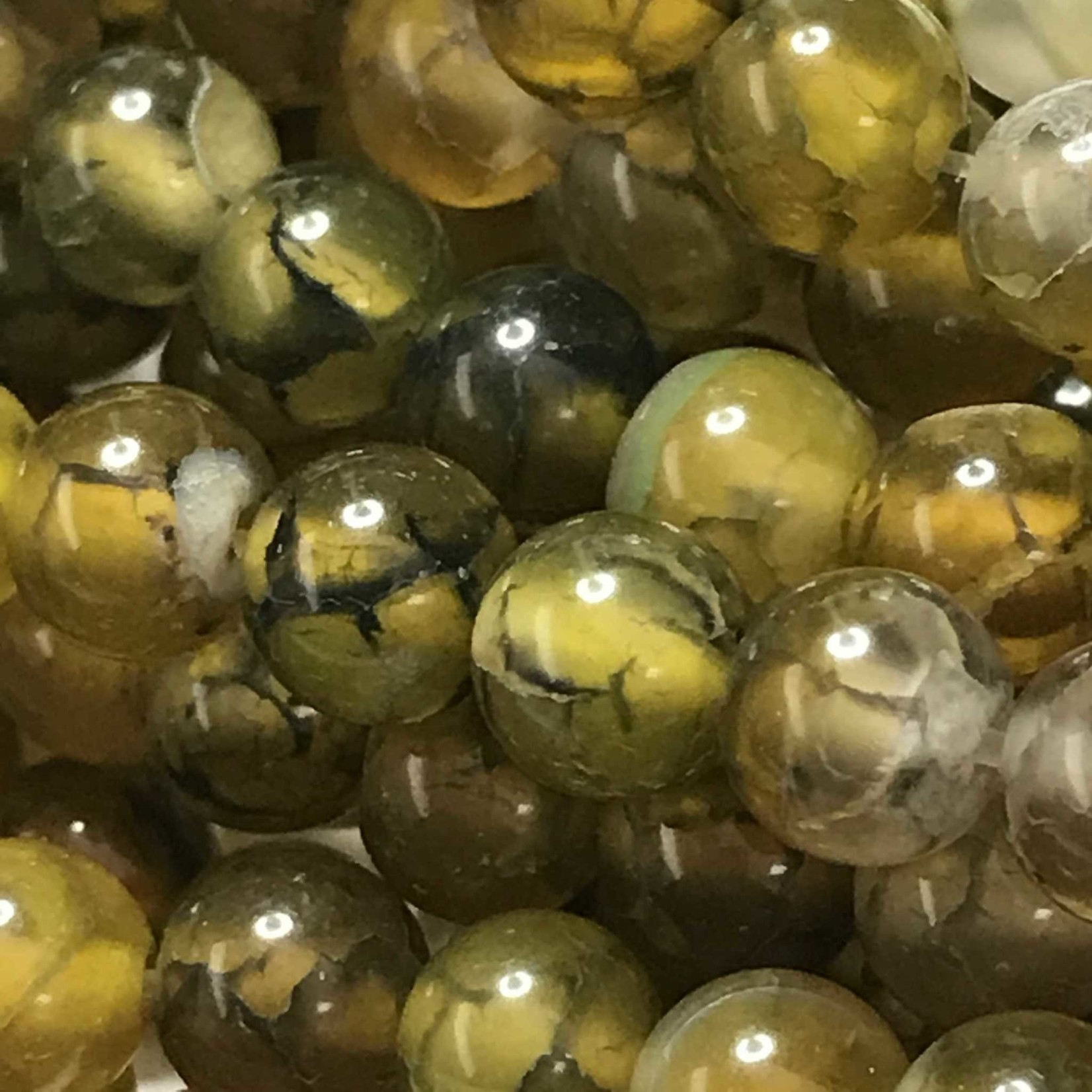 AGATE Dragons Vein Olive 6mm Round