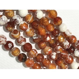 AGATE Beads Orange/Red/White 6mm Faceted