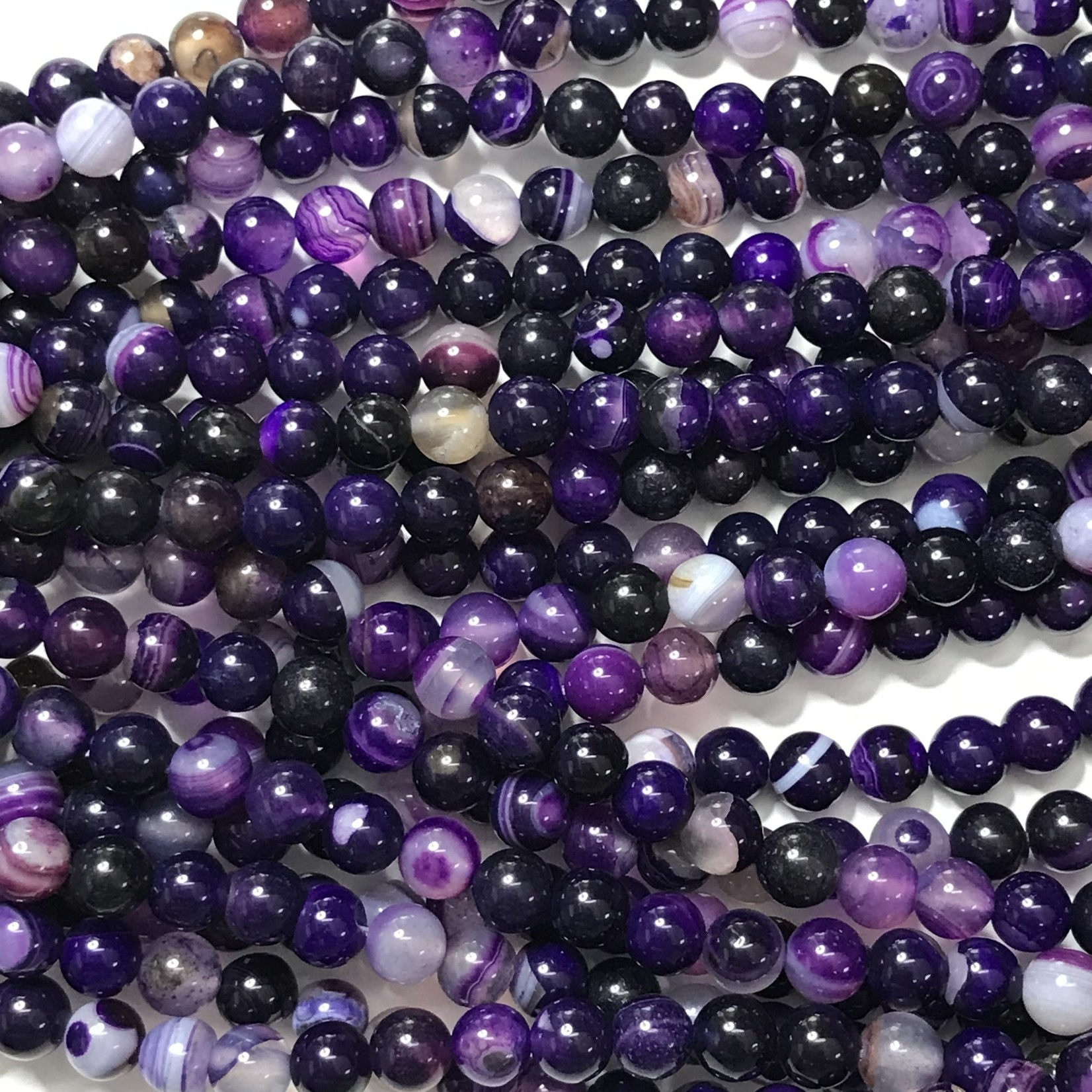 Banded Agate Dyed Purple 6mm Round