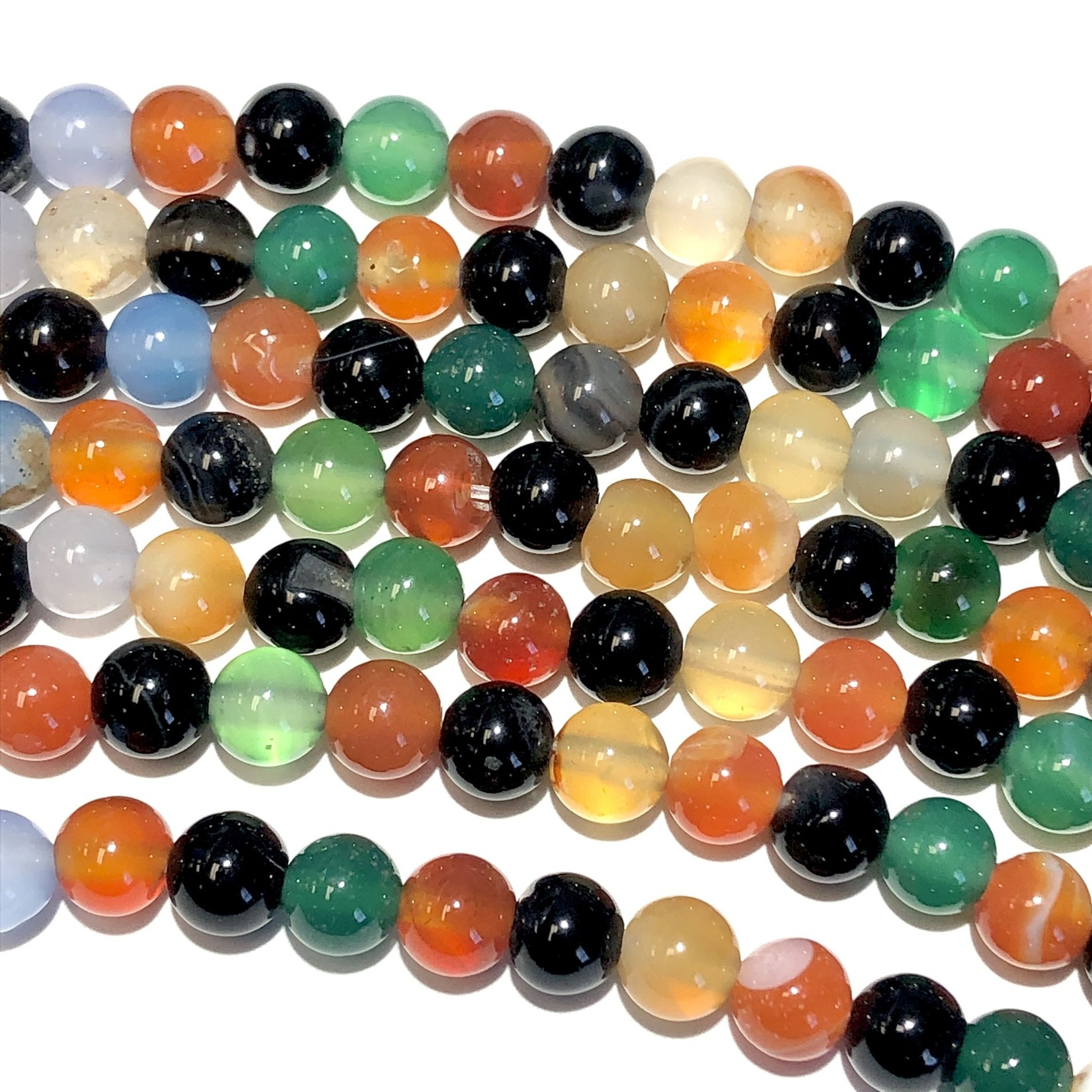 Agate Asst Colours 6mm Round