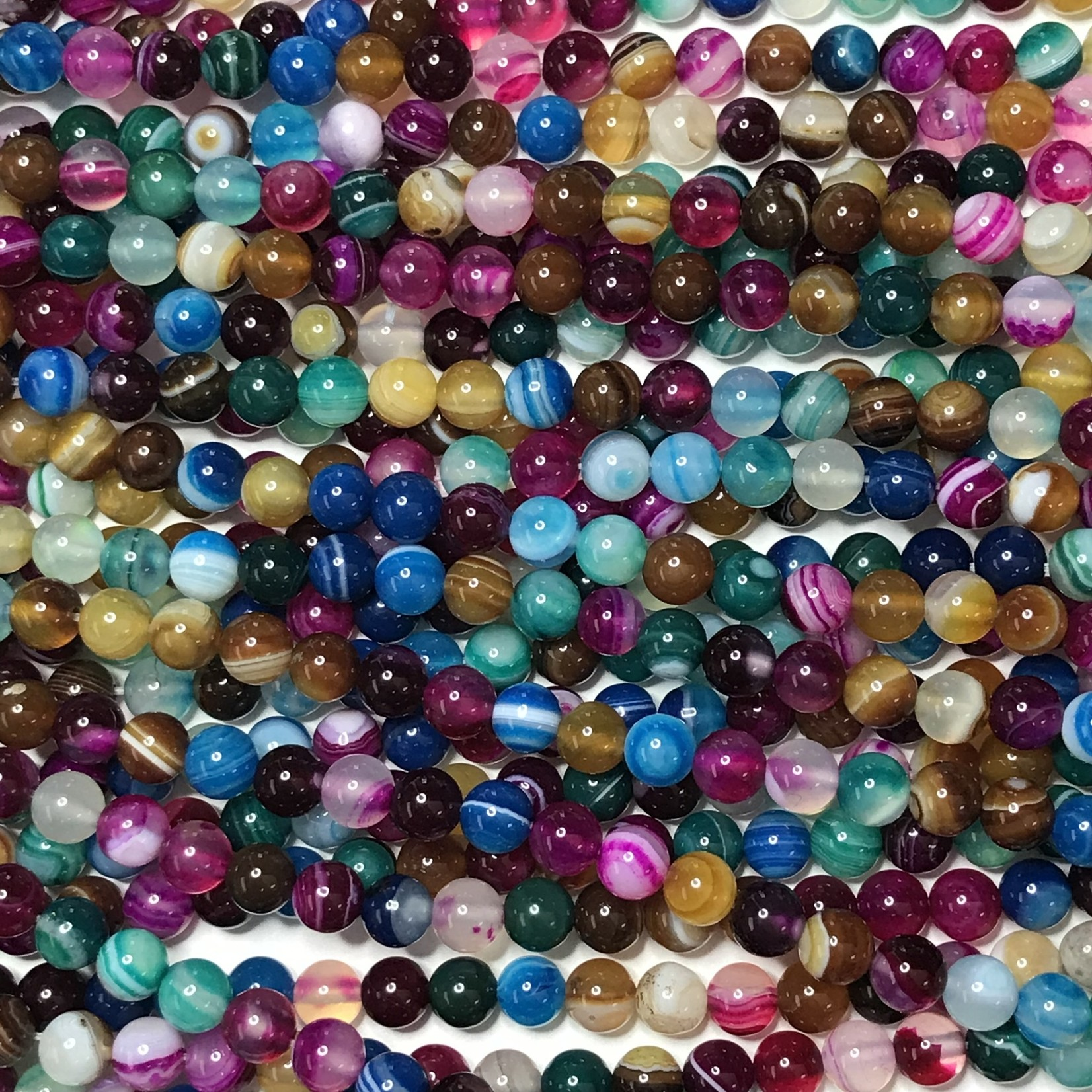 Banded AGATE Dyed Mixed Colours 6mm Round