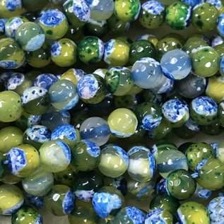 Dyed Fire AGATE Green/Blue/Yellow 6mm Faceted