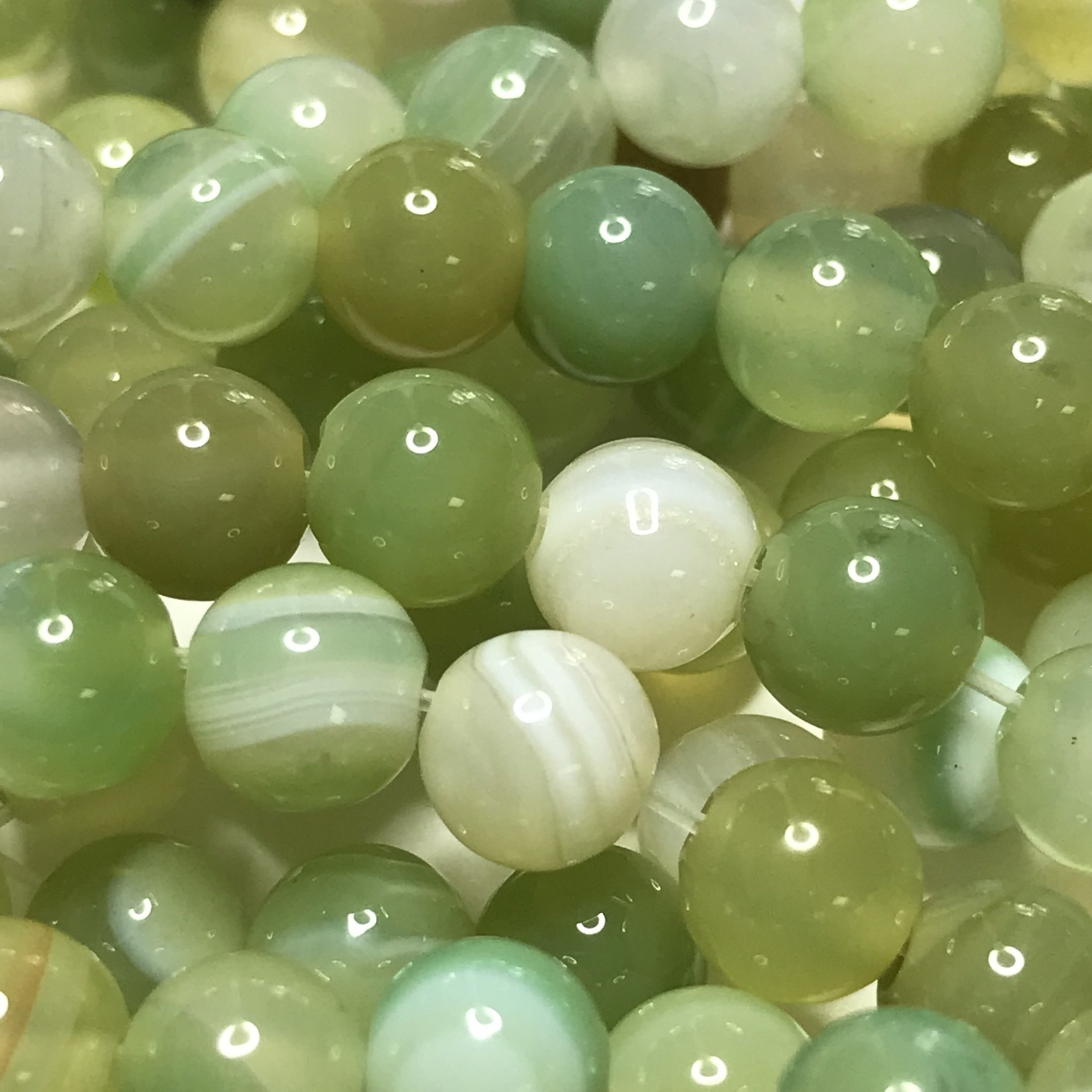 Banded Agate Dyed Green/Yellow 6mm Round