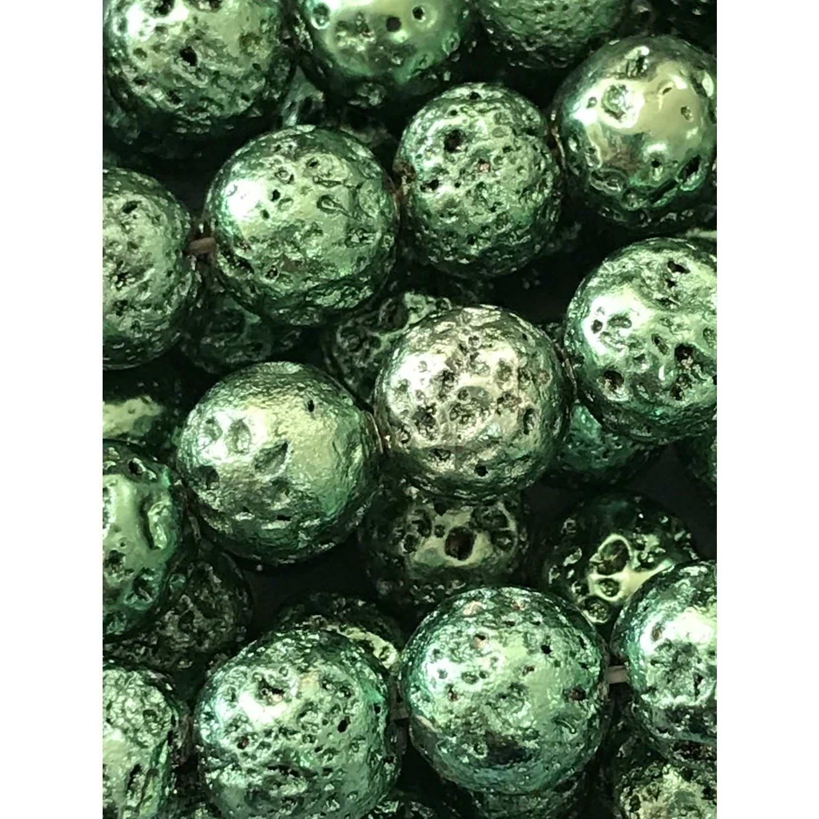 Electroplated LAVA Stone Green 8mm Round