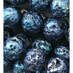 Electroplated LAVA Stone Blue 8mm Round