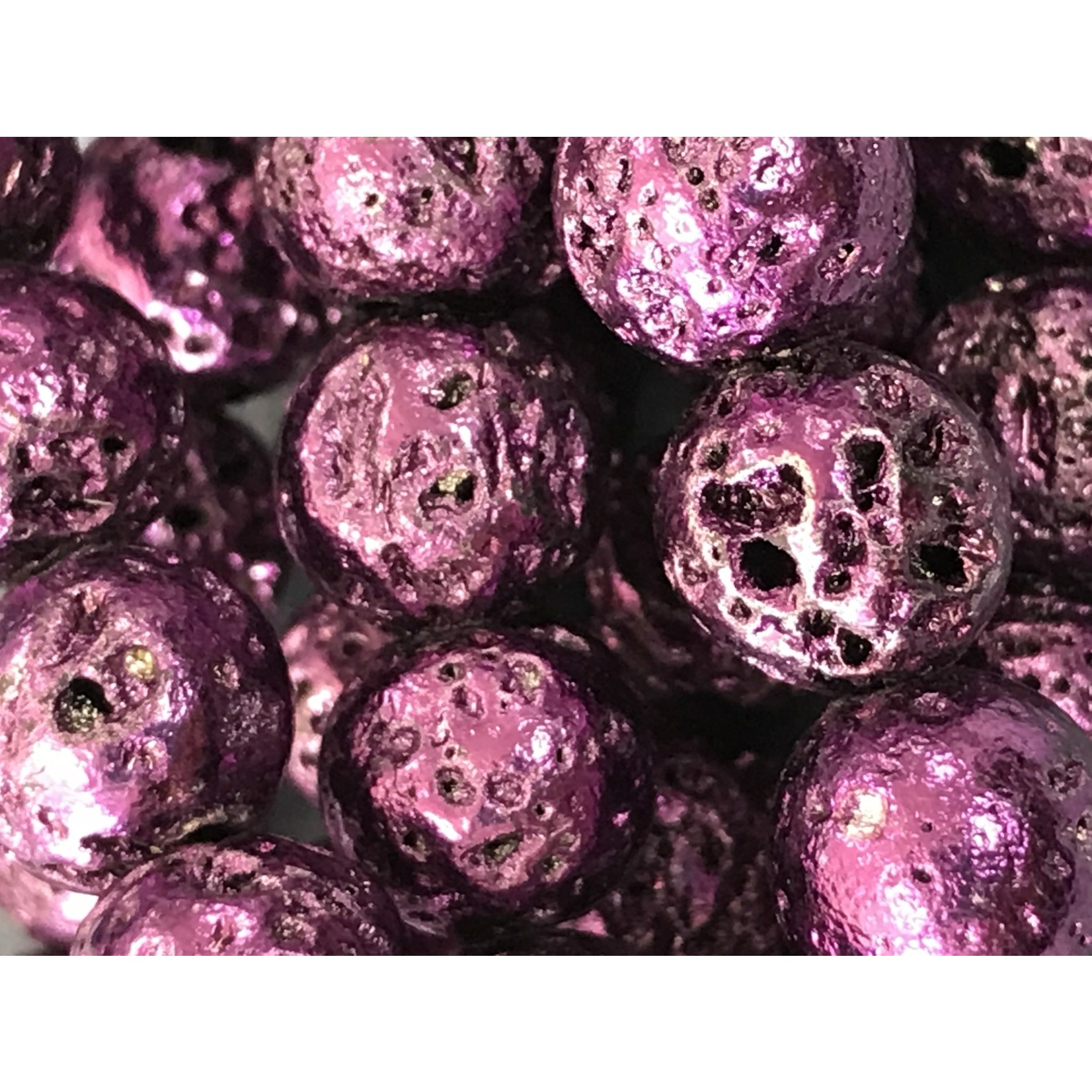 Electroplated LAVA Stone Violet 8mm Round