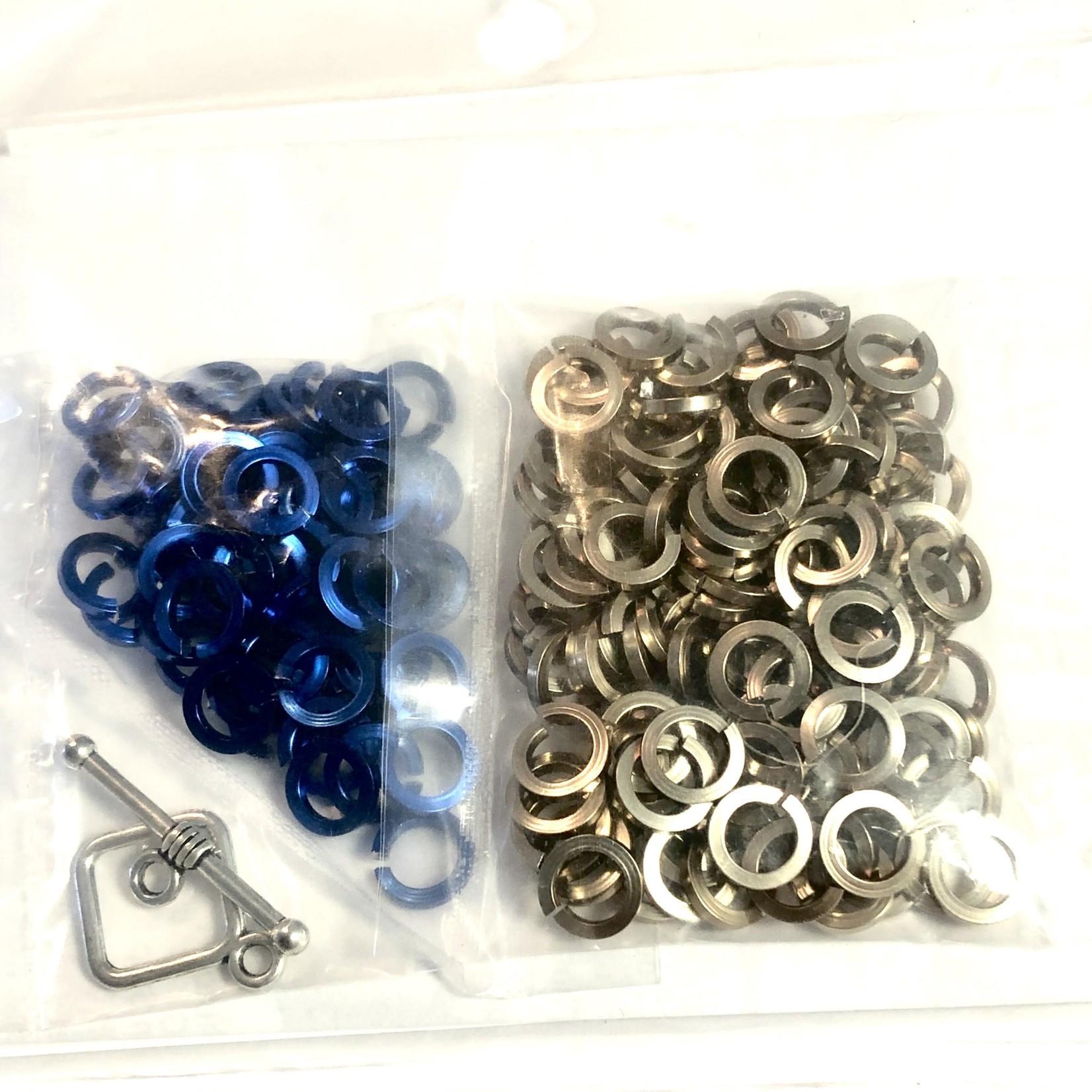 Hyperlinks Chain Maille Sq Byzantine Bracelet Kit Royal Blue & Champagne