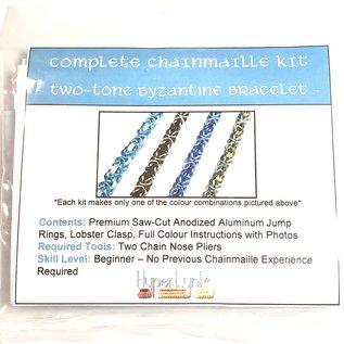 Chain Maille Two-Tone Byzantine Bracelet Kit Black & Champagne