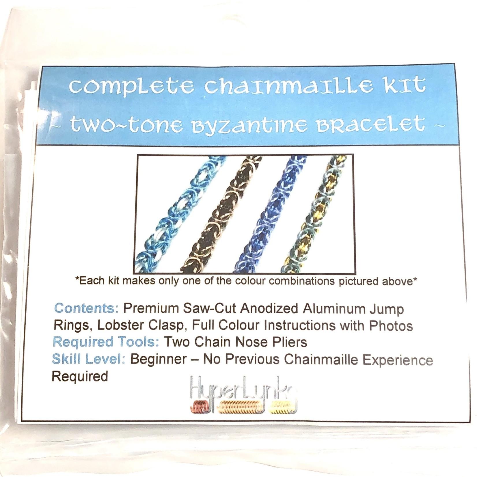 Chain Maille Two-Tone Byzantine Bracelet Kit Sky Blue & White