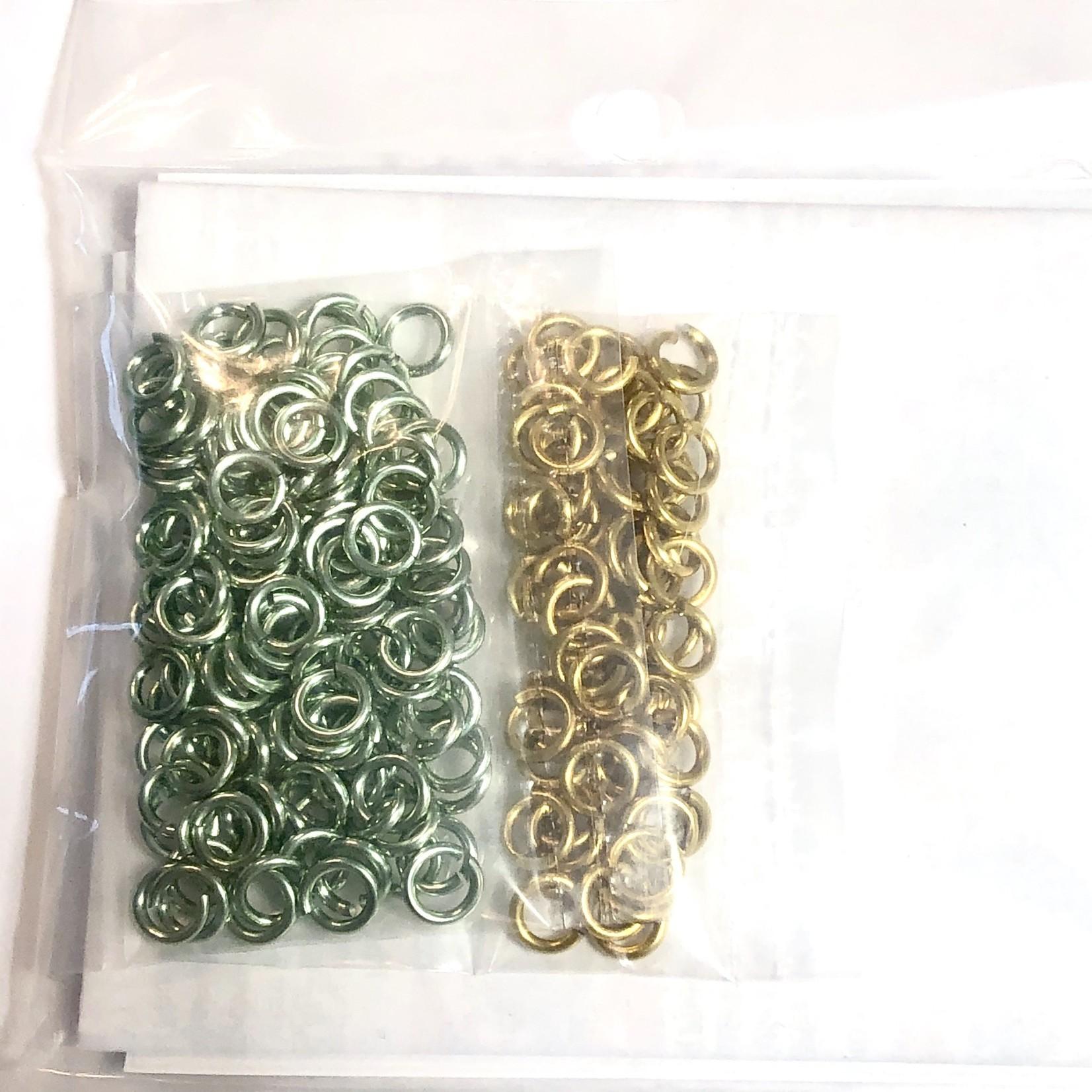 Chain Maille Two-Tone Byzantine Bracelet Kit Gold & Seafoam