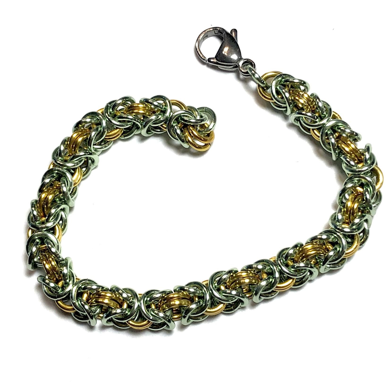 Hyperlinks Chain Maille Two-Tone Byzantine Bracelet Kit Gold & Seafoam