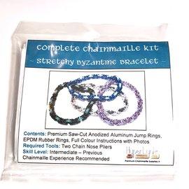 Chain Maille Byzantine Stretchy Bracelet Kit Black & Teal