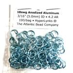 "Hyperlinks Anodized Aluminum Rings Sky Blue 18ga 3/16"" 100pcs"