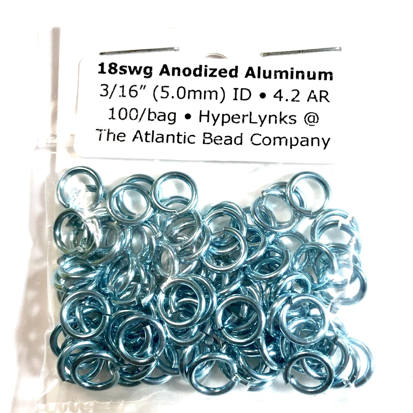 """Anodized Aluminum Rings Sky Blue 18ga 3/16"""" 100pcs"""