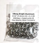 """Bright Aluminum Rings 18ga 3/16"""" 100pcs"""