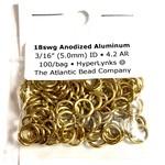 """Anodized Aluminum Rings Gold 18ga 3/16"""" 100pcs"""