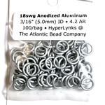 """Anodized Aluminum Rings White 18ga 3/16"""" 100pcs"""
