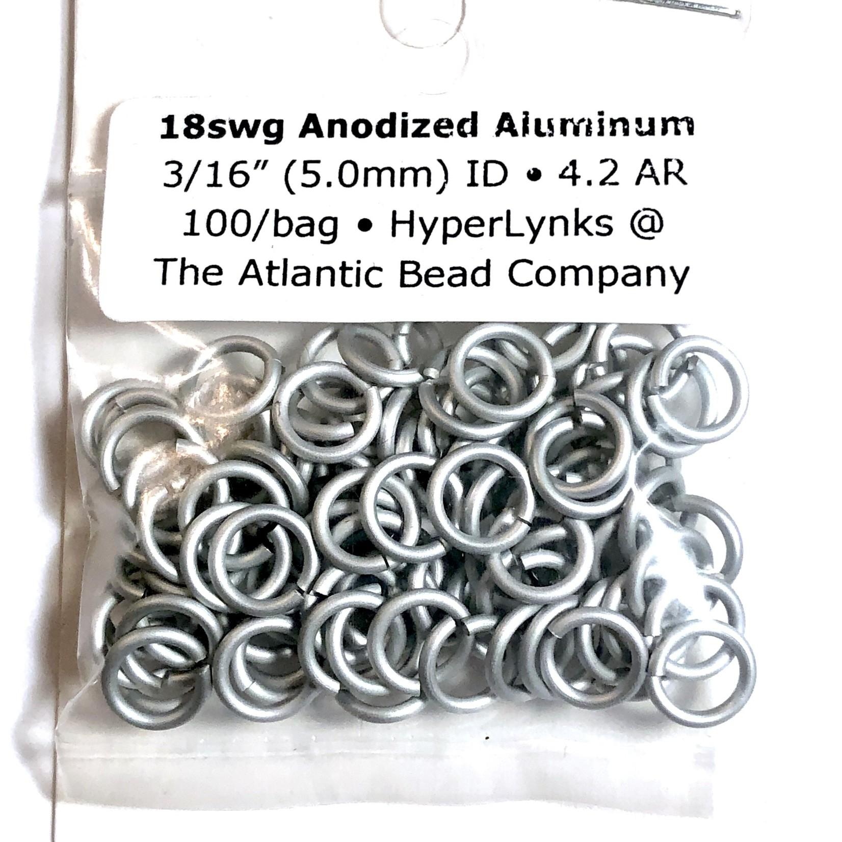 """Hyperlinks Anodized Aluminum Rings White 18ga 3/16"""" 100pcs"""