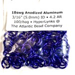 "Hyperlinks Anodized Aluminum Rings Violet 18ga 3/16"" 100pcs"
