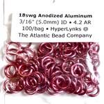 """Anodized Aluminum Rings Hot Pink 18ga 3/16"""" 100pcs"""