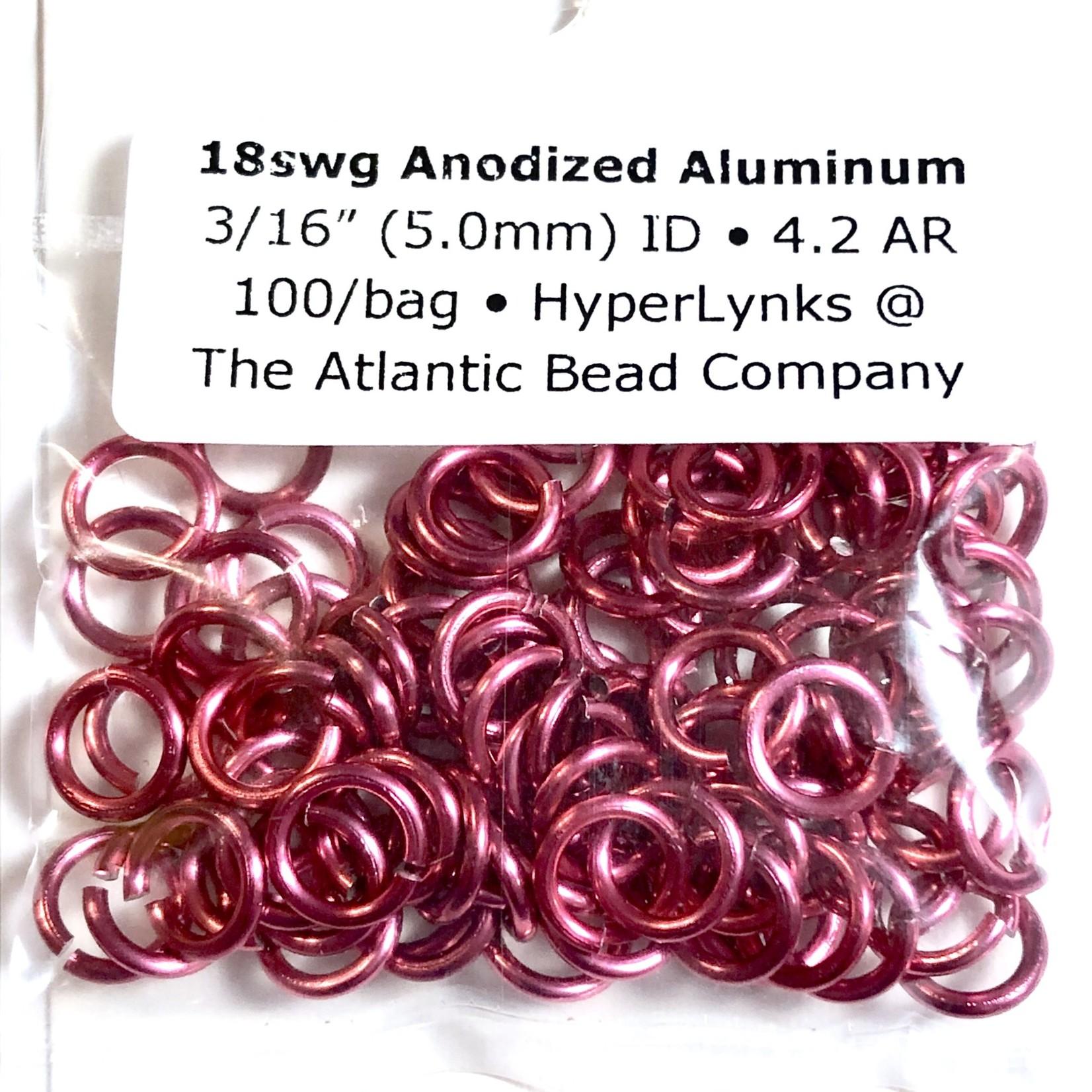 "Hyperlinks Anodized Aluminum Rings Hot Pink 18ga 3/16"" 100pcs"