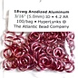 "Anodized Aluminum Rings Hot Pink 18ga 3/16"" 100pcs"