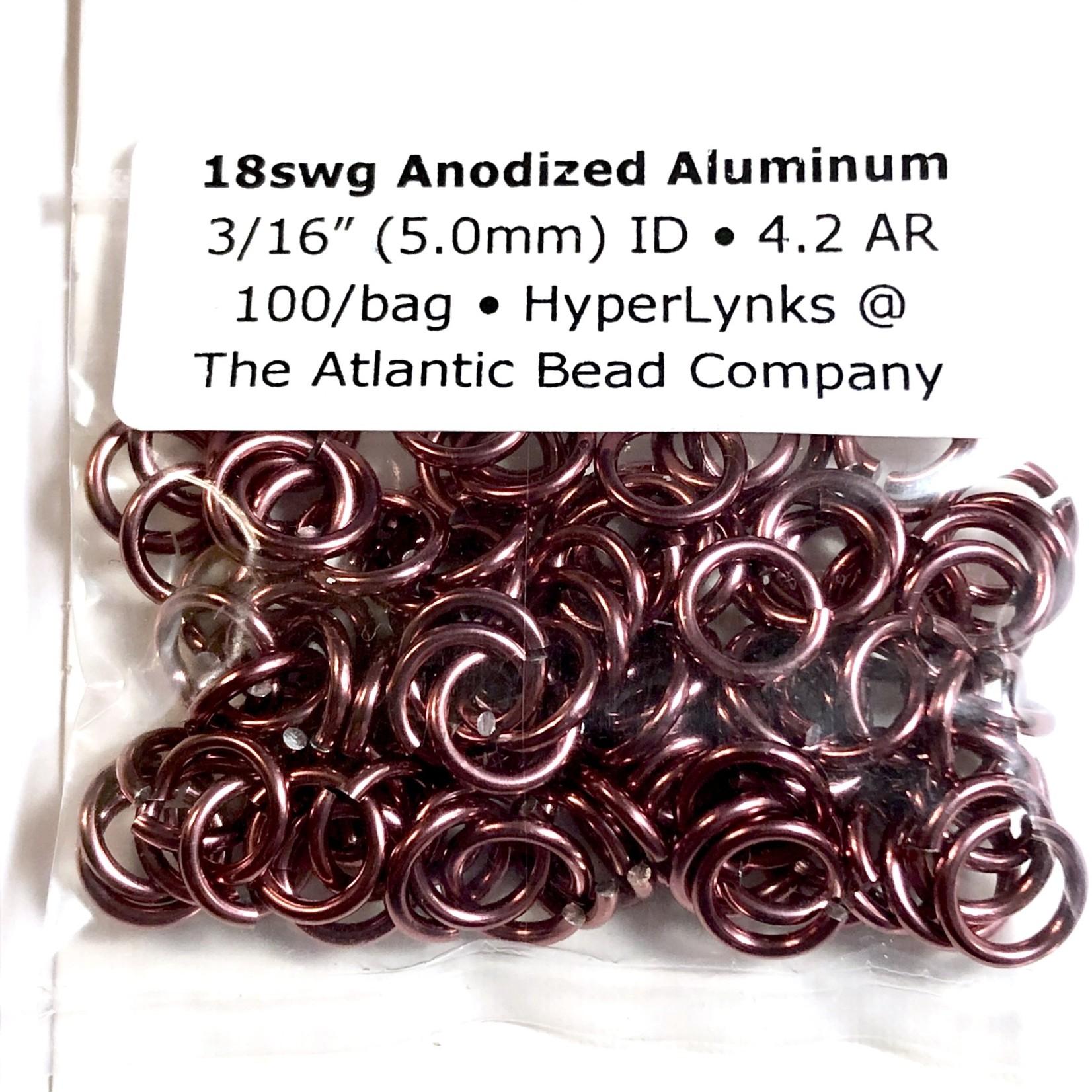 "Hyperlinks Anodized Aluminum Rings Cranberry 18ga 3/16"" 100pcs"