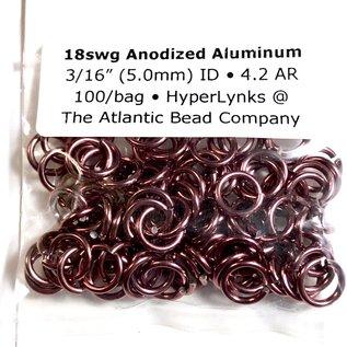 """Beadalon Anodized Aluminum Rings Cranberry 18ga 3/16"""" 100pcs"""