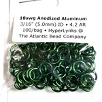 "Hyperlinks Anodized Aluminum Rings Green 18ga 3/16"" 100pcs"