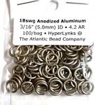 "Hyperlinks Anodized Aluminum Rings Khaki 18ga 3/16"" 100pcs"