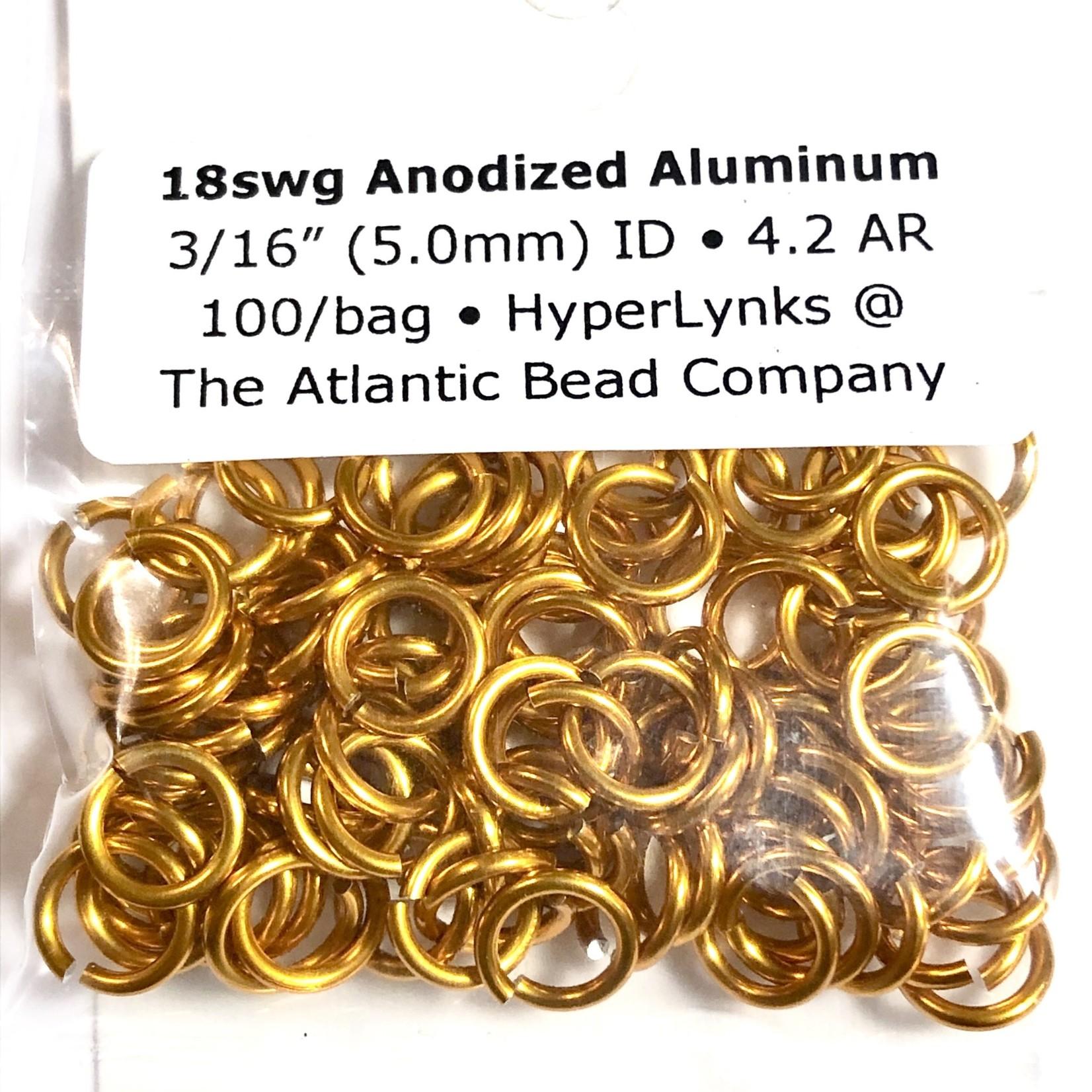 "Hyperlinks Anodized Aluminum Rings Orange 18ga 3/16"" 100pcs"