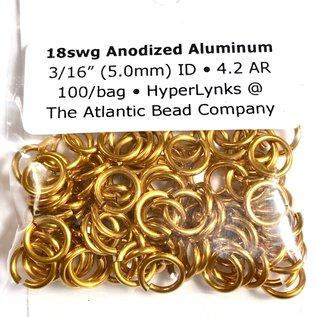 "Anodized Aluminum Rings Orange 18ga 3/16"" 100pcs"