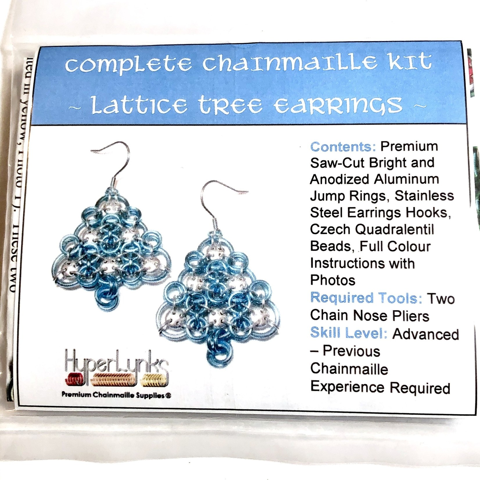 Hyperlinks Chain Maille Lattice Tree Earring Kit Sky Blue & Silver