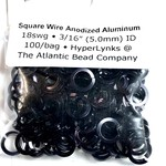 "Sq Wire Anodized Alum Rings Black 18ga 3/16"" 100pcs"