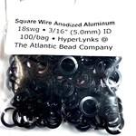 "Hyperlinks Sq Wire Anodized Alum Rings Black 18ga 3/16"" 100pcs"