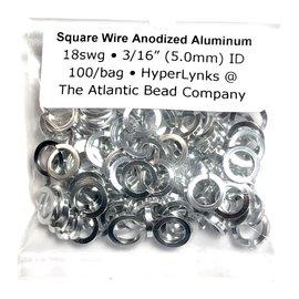 "Sq Wire Anodized Alum Rings Silver 18ga 3/16"" 100pcs"